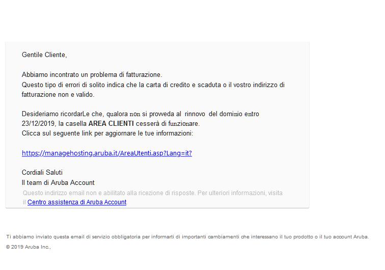 Area clienti aruba scam