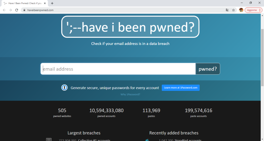Home page di Have I been pwned