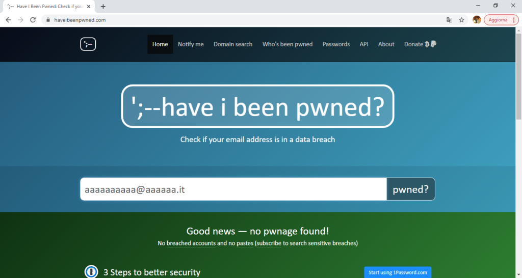 Have i been pwned? Buone notizie