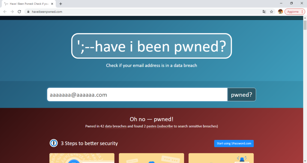 Have i been pwned? Cattive notizie