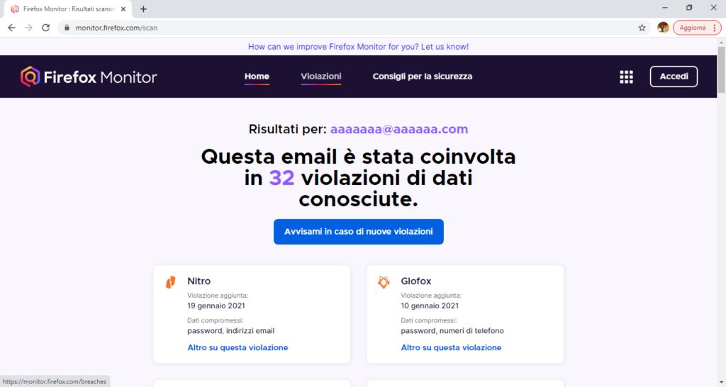Firefox Monitor - violazioni