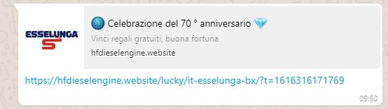 Ecco come si presenta il messaggio di Whatsapp per la celebrazione del 70° anniversario di Esselunga