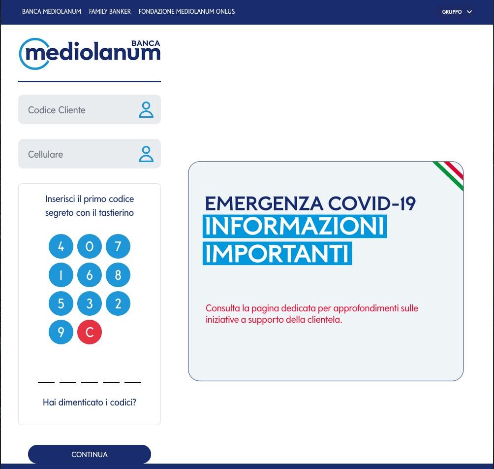 Banca Mediolanum - Landing page falsa (phishing)